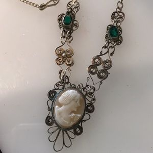 Vintage cameo and green stone necklace